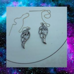 Swarovski Crystal Wing Ear Threader Earrings